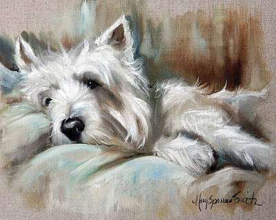 Westie Painting - Languor by Mary Sparrow
