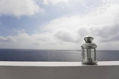 Ledge Photograph - Lantern On Ledge Overlooking Sea, Ginostra, Stromboli Island, Aeolian Islands, Italy by Siephoto