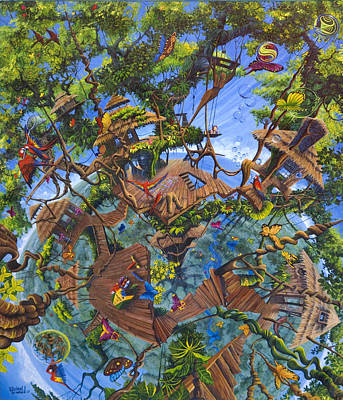 Painting - Lapa's Nest Treehouse In Costa Rica by Michael Cranford