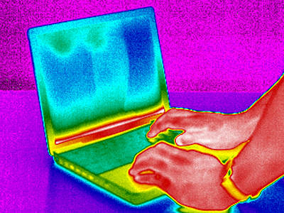 Thermographic Photograph - Laptop Computer, Thermogram by Tony Mcconnell