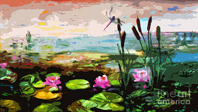 Large Abstract Lily Pond And Dragonfly Painting by Ginette Callaway