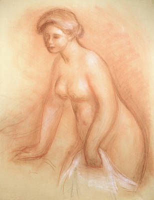 Sexy Women Drawing - Large Bather by Pierre Auguste Renoir