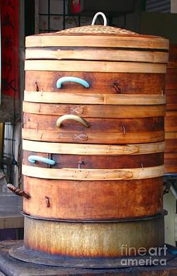 Bamboo Photograph - Large Chinese Bamboo Steamers by Yali Shi