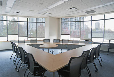 Large Empty Boardroom. A Long Narrow Print by Marlene Ford
