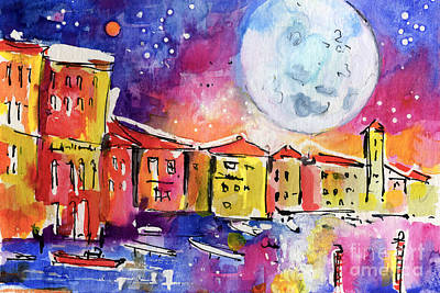 Large Moon Over Venice  Art Print by Ginette Callaway