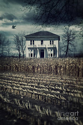 Photograph - Large Old Country House At The End Of Corn Field by Sandra Cunningham