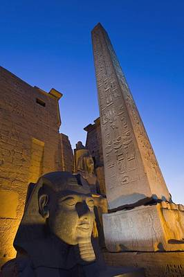 Large Pharaohs Head Statue And Obelisk Art Print by Axiom Photographic