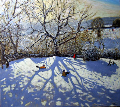Winter Landscape Painting - Large Tree And Tobogganers by Andrew Macara