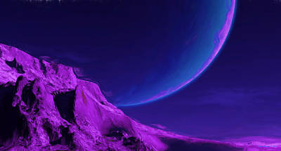 Spacescape Painting - Large Unusual Planet  by Wayne Bonney