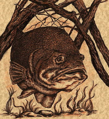 Fish Underwater Drawing - Largemouth Bass by Kathleen Kelly Thompson
