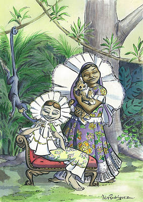 Chango Painting - Las Tehuanitas Enamoradas by Isis Rodriguez