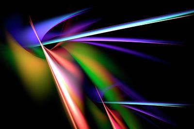 Radiating Light Digital Art - Laser Light Show by Carolyn Marshall