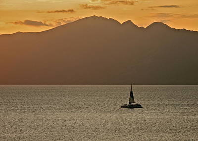 Late Afternoon Cruise In The Paniolo Channel Art Print by Kirsten Giving