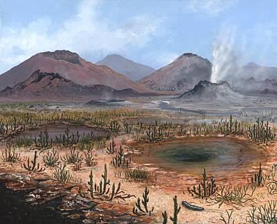 Late Devonian Landscape, Artwork Art Print by Richard Bizley