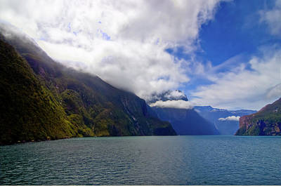 Photograph - Late Morning Rising Clouds At Milford Sound by Harry Strharsky