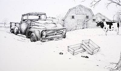 Truck Grill. Fence Drawing - Late Season Apples by Scott Nelson
