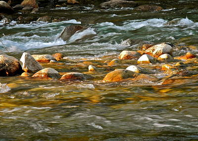 Photograph - Late Sun On River And Rocks by Kirsten Giving