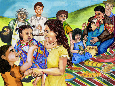 Drawing - Latino Family Picnic by Laura Brightwood