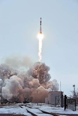 Launch Of Progress 66 Cargo Mission Art Print by Ria Novosti