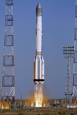 Launch Of Proton-k Rocket Art Print by Ria Novosti