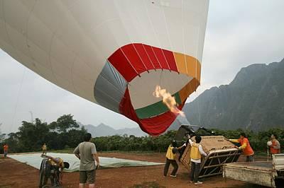 Launching A Hot Air Balloon Art Print by Photostock-israel