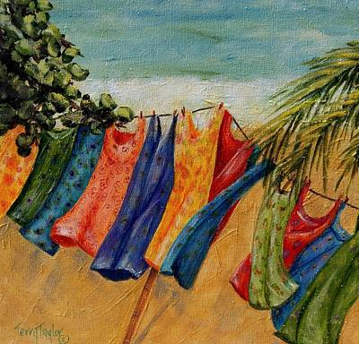 Art Print featuring the painting Laundry Day At The Beach by Terry Taylor