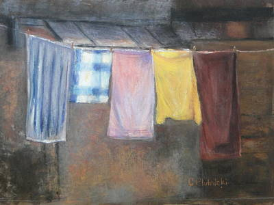 Pastel - Laundry Day by Cindy Plutnicki