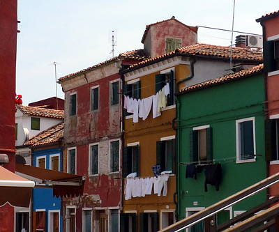Laundry Day In Burano Art Print by Carla Parris