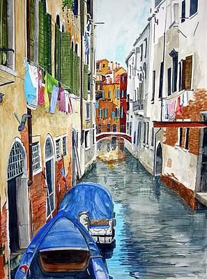 Art Print featuring the painting Laundry Day In Venice by Tom Riggs
