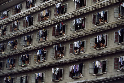 Laundry Drying Outside Apartments Art Print