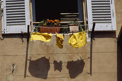 Flower Planter Photograph - Laundry Hanging On A Line by David Evans