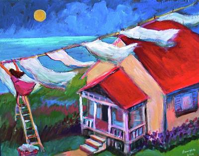 Painting - Laundry Line by Anne Marie Bourgeois