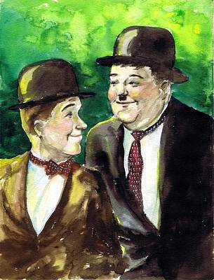 Mess Drawing - Laurel And Hardy by Mel Thompson