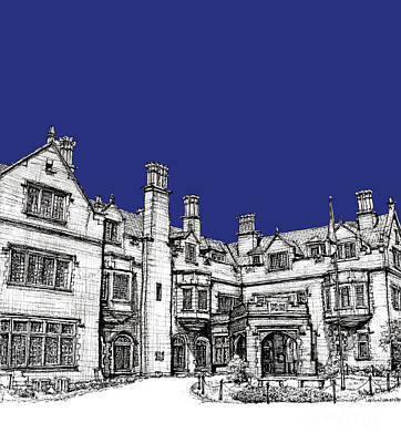 Laurel Hall Royal Blue Art Print by Building  Art