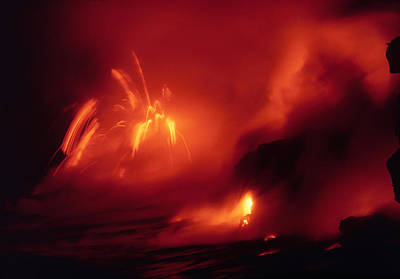 Lava Entering The Sea At Night Art Print by Dr Juerg Alean