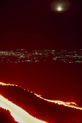 Lava Flow At Night Art Print by Dr Juerg Alean