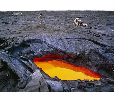 Lava Flow Research, Hawaii Art Print