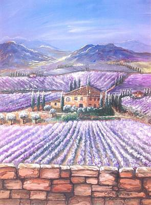 Admiring The View Painting - Lavender Fields In Tuscany by Cecilia Putter
