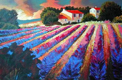 South Of France Painting - Lavender Fields  by Santo De Vita