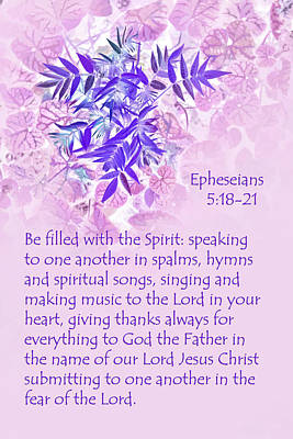 Lavender Leaves Eph. 5v10-11 Art Print by Linda Phelps