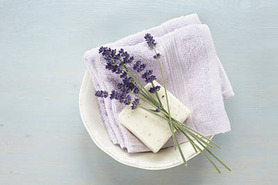 Bowl Of Flowers Photograph - Lavender, Soap And Cloth In Bowl by Photo Division