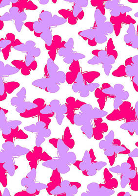 Repeat Digital Art - Layered Butterflies  by Louisa Knight