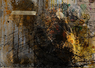 Austin Mixed Media - Layered Realities Abstract Composition Painting Print by Svetlana Novikova
