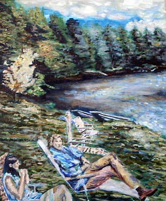 Art Print featuring the painting Lazy Day On The Mill Pond by Denny Morreale