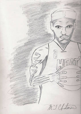 Lebron James Drawing - LBJ by Michael Chatman