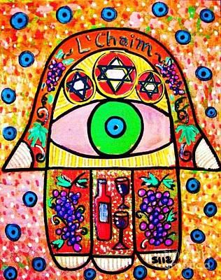 Hamas Painting - L'chaim Hamsa Wine by Sandra Silberzweig