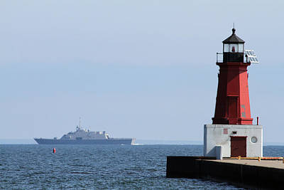 Art Print featuring the photograph Lcs3 Uss Fort Worth By The Menominee Lighthouse by Mark J Seefeldt