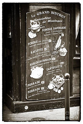 Brown Tones Photograph - Le Grand Bistrot Menu by John Rizzuto