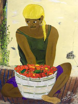 Taino Painting - Le Piment Rouge D' Haiti by Nicole Jean-Louis