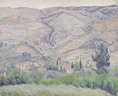 Mountain Valley Painting - Le Ragas Near Toulon by Camille Pissarro